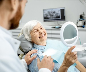 older woman at dentist